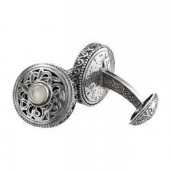 Sterling Silver & Pearls Medieval-Byzantine Filigree Cufflinks