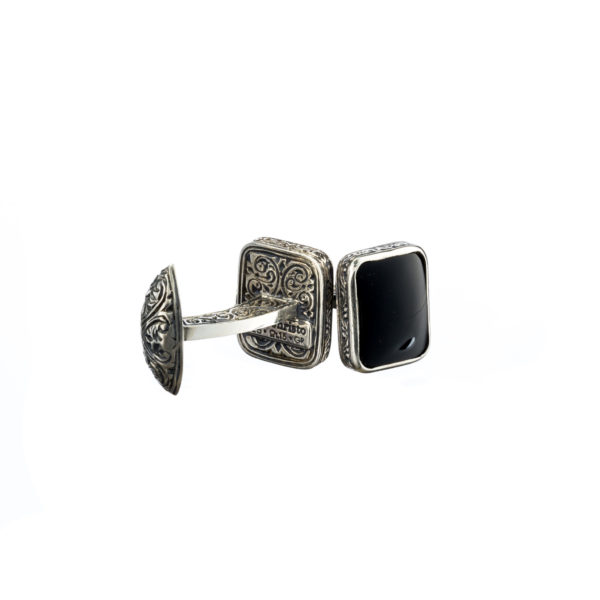 Sterling Silver & Black Onyx Medieval-Byzantine Cufflinks