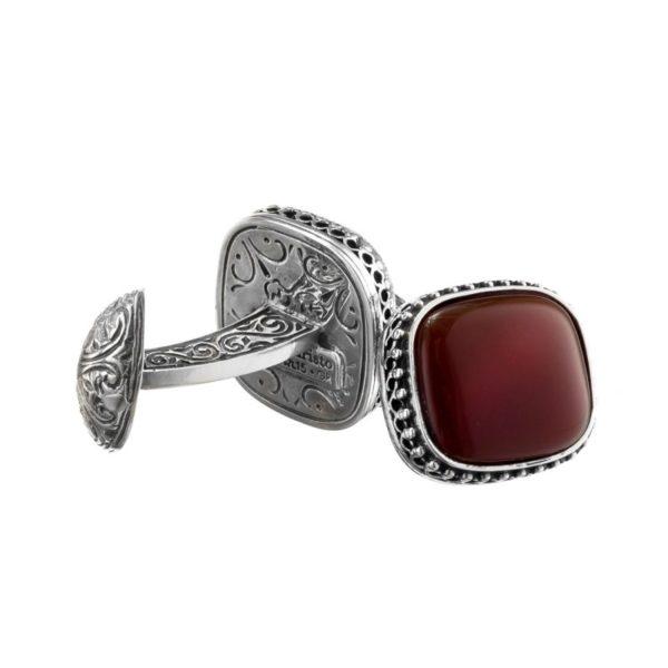 Sterling Silver & Carnelian Medieval-Byzantine Cufflinks