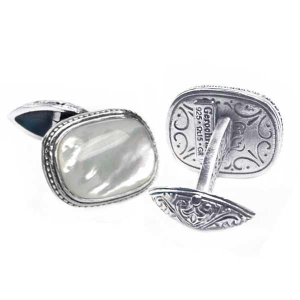 Sterling Silver Medieval-Byzantine Cufflinks with Stone