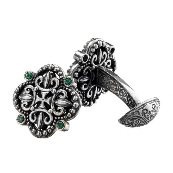Sterling Silver & Zircon Byzantine-Medieval Cufflinks
