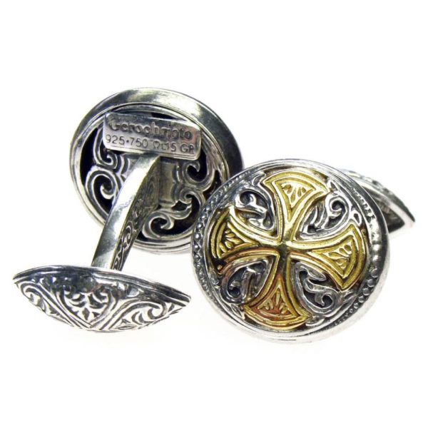 Solid 18K Gold & Sterling Silver Medieval-Byzantine Cross Cufflinks