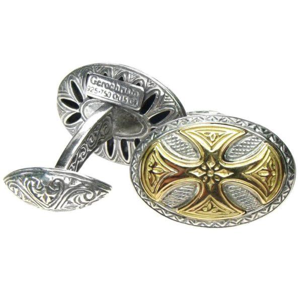 Solid 18K Gold & Silver Medieval Cross Cufflinks
