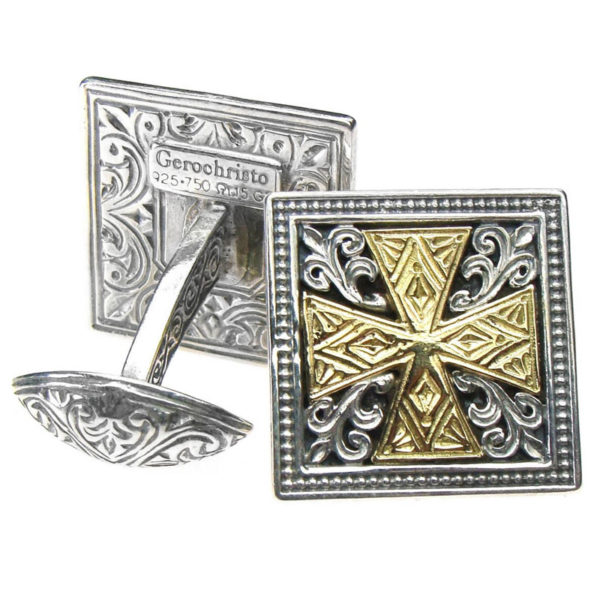 Solid 18K Gold & Sterling Silver Medieval Cross Cufflinks