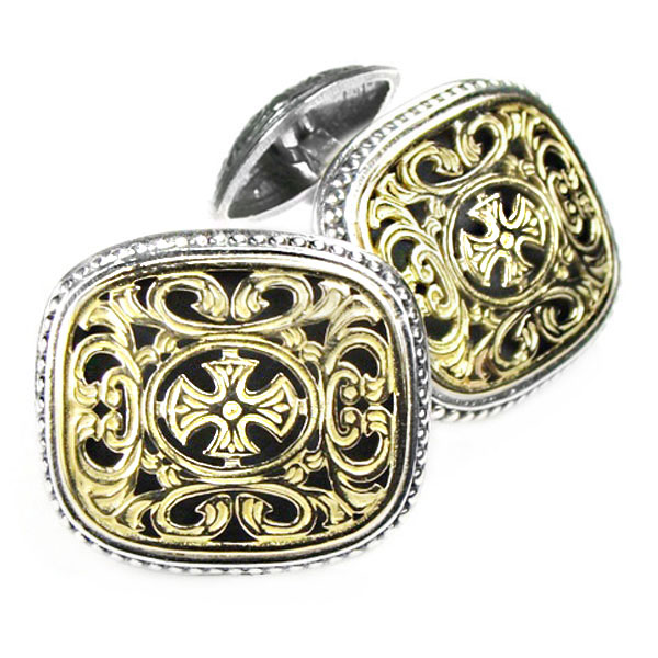 Solid 18K Gold & Silver Medieval-Byzantine Cross Cufflinks