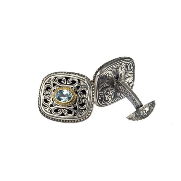 Solid 18K Gold, Silver & Blue Topaz Medieval Byzantine Cufflinks
