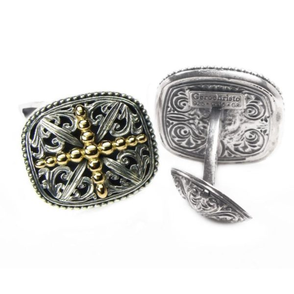 Solid 18K Gold & Sterling Silver Medieval Cross Cufflinks