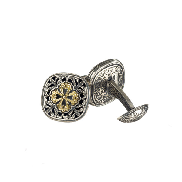 Solid 18K Gold & Silver Byzantine-Medieval Filigree Cufflinks