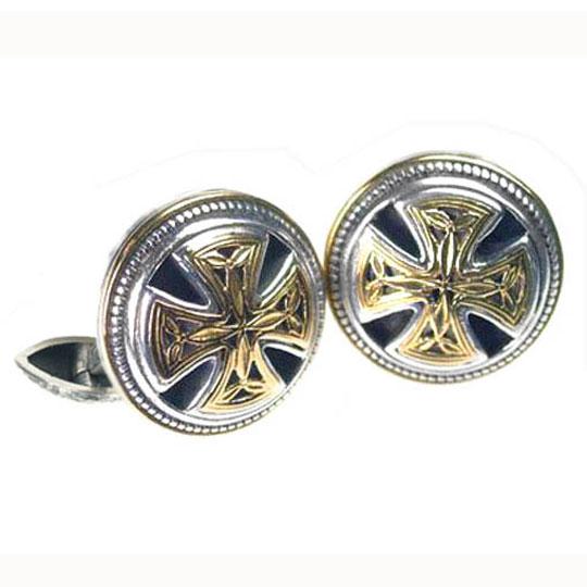 Solid 18K Gold & Sterling Silver Medieval Byzantine Cross Cufflinks