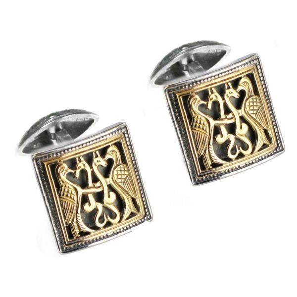 Solid 18K Gold & Sterling Silver Medieval Byzantine Cufflinks