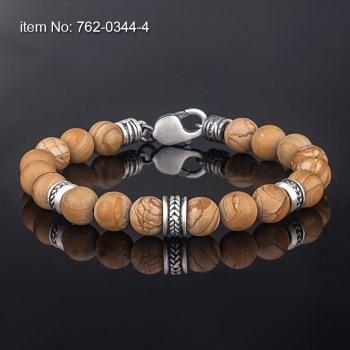 Sterling Silver motif with jasper beads Bracelet