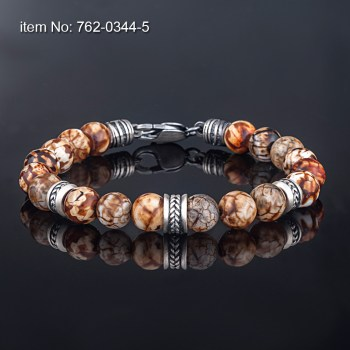 Sterling Silver motif with agate beads Bracelet