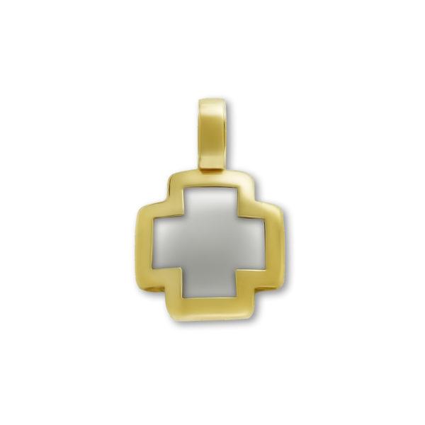 14K white and yellow Gold, handmade cross.