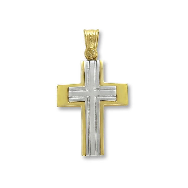 14K white and yellow Gold, handmade cross.