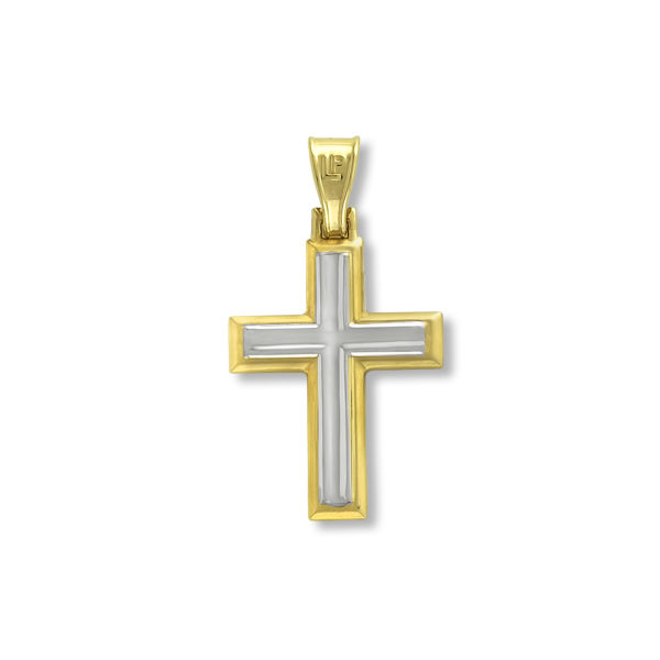 14K white & yellow Gold, handmade cross.