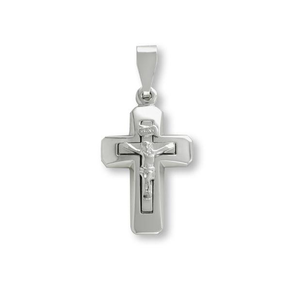 14K white Gold, crucifix handmade cross.