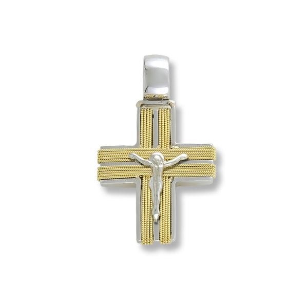 18K white and yellow Gold, handmade cross.