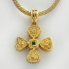 18K Gold, Byzantine, handmade, double sided cross with Tourmaline, Amethyst and Emerald stone.