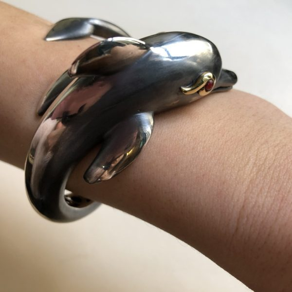 Silver 925, Gold-plated, handcrafted dolphin bracelet with Tourmaline stone eyes.