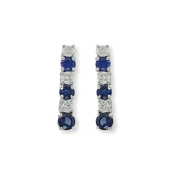 18K white Gold, handmade, Diamonds & Sri Lanka Sapphire earrings.