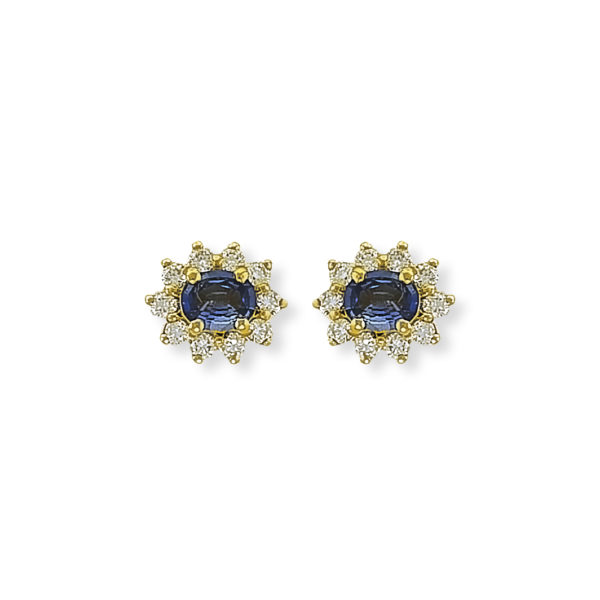 18K yellow Gold, handmade, Diamonds & Sri Lanca Saphire earrings.