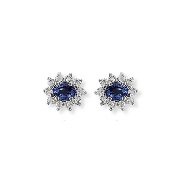 18K white Gold, handmade, Diamond & Sapphire earrings.