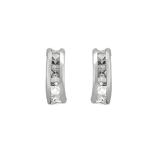 14k White Gold Channel CZ Small Hoop Earrings.