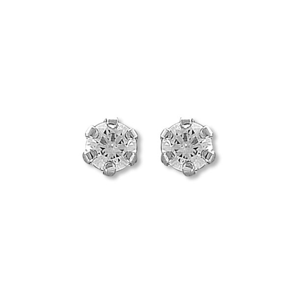 14k White Gold Solitaire Round CZ Stud Earrings