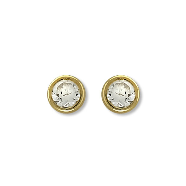 14k Yellow Gold Solitaire Round CZ Stud Earrings