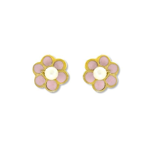 14k Yellow Gold Pearl Stud Earrings