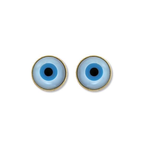 14K Gold Greek mati evil eye earrings.