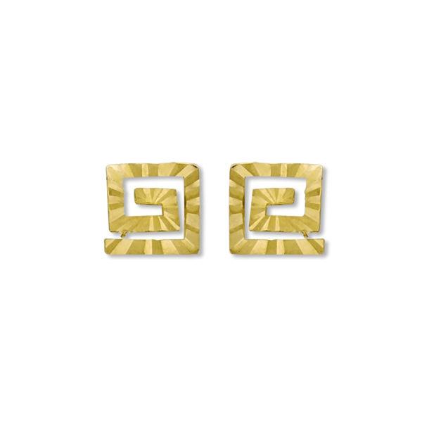 14K Gold Greek Key earrings.