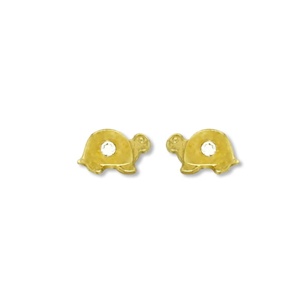 14K Gold Greek turtle earrings.