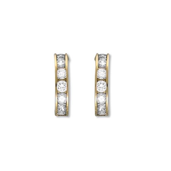 14k Gold Channel setting CZ Hoop Earrings.