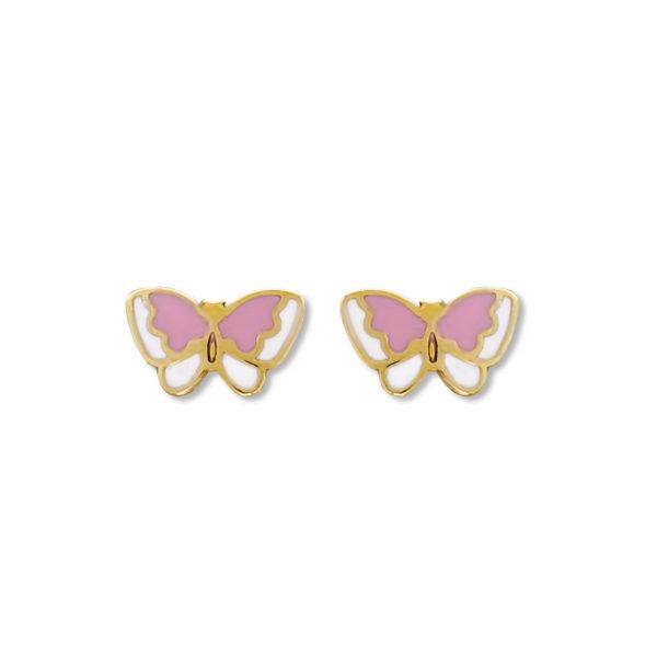 14K Gold Butterfly enamel earrings.