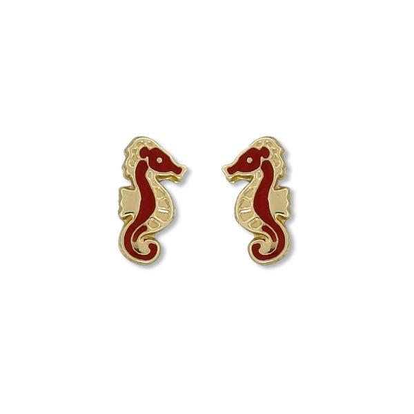14K Gold sea horse earrings.