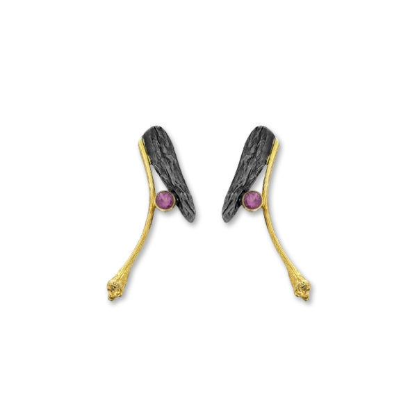 Sterling Silver Gold Plated Handmade Tourmaline Earrings.