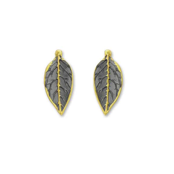 Sterling Silver Gold Plated Olive Branch Handmade Earrings.