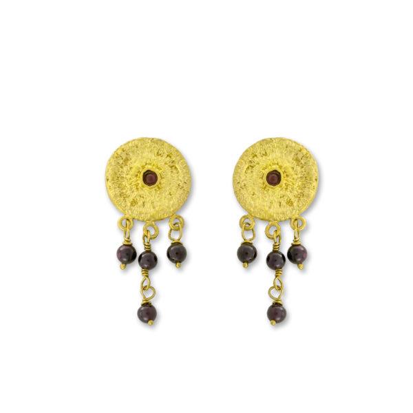 Sterling Silver Gold Plated Circle Handmade Garnet Earrings.