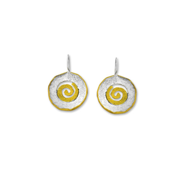 Sterling Silver Gold Plated Circle of Life Handmade Earrings.