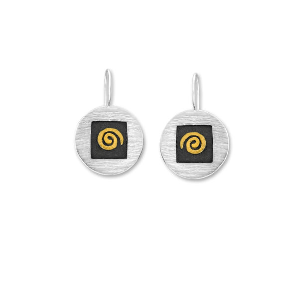 Sterling Silver and 14k Gold Circle of Life design Handmade Earrings.