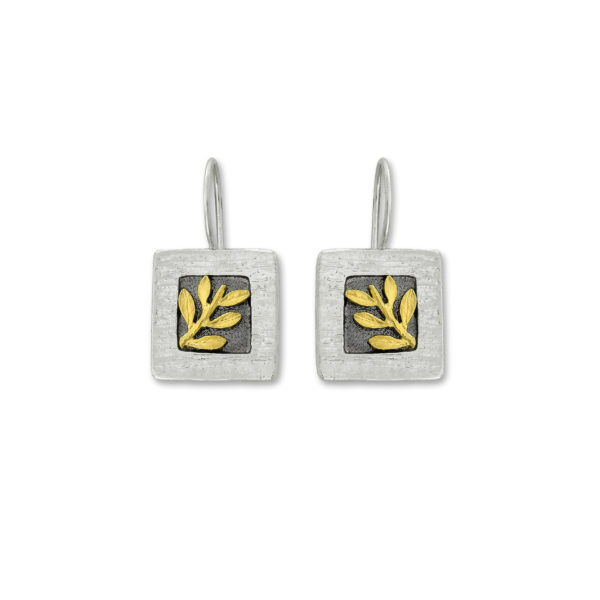 Sterling Silver and 14k Gold Olive branch design Handmade Earrings.
