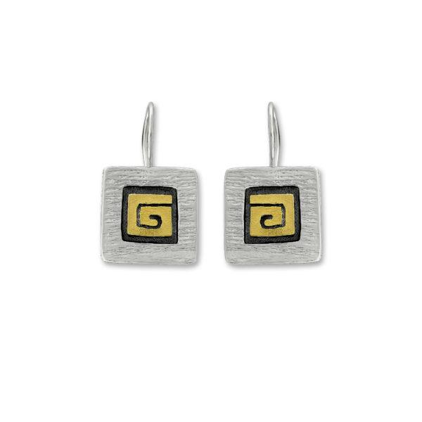 Sterling Silver and 14k Gold Greek Key design Handmade Earrings.