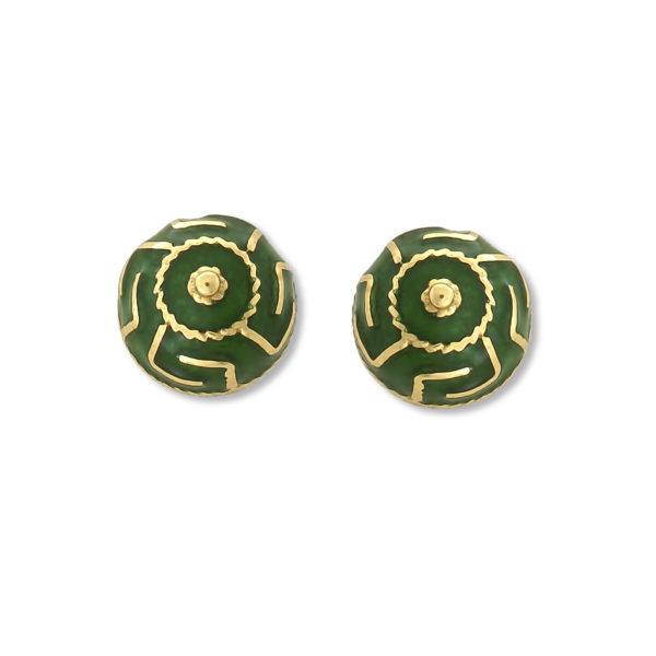 18K Gold, handmade Byzantine enamel Greek key earrings.