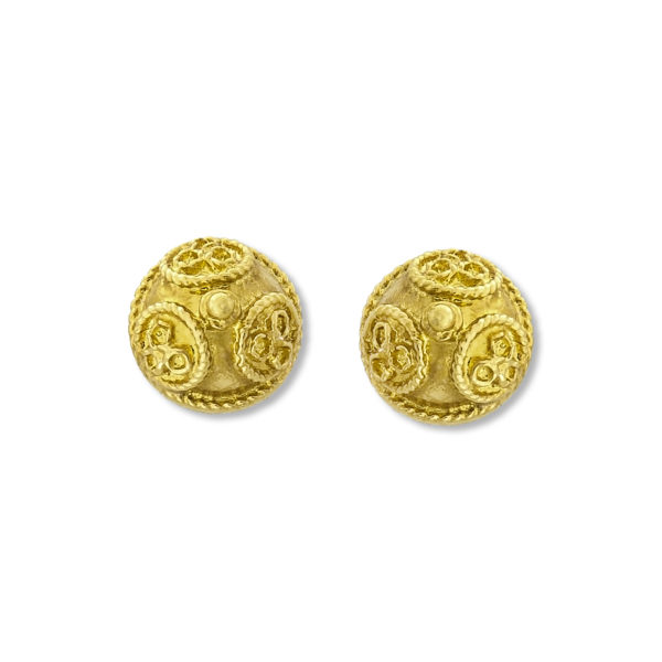 18K Gold, handmade Byzantine earrings.