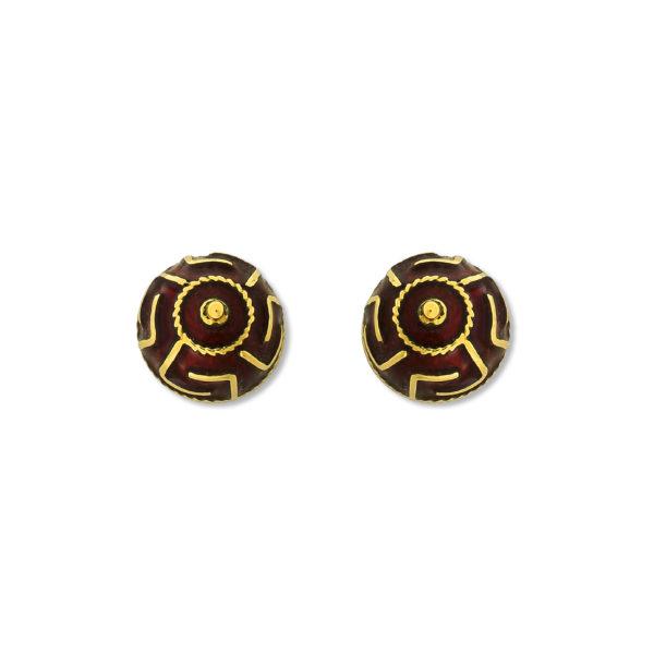 18K Gold, handmade Byzantine Greek key enamel earrings.