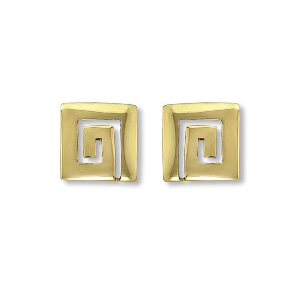 18K Gold, handmade, Greek key earrings.