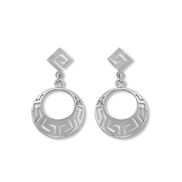 14K White Gold, handmade, Greek key earrings.