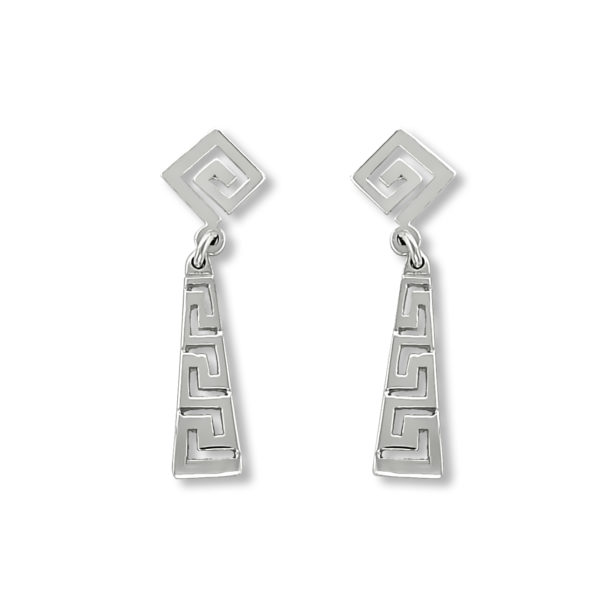 18K White Gold, handmade, Greek key earrings.