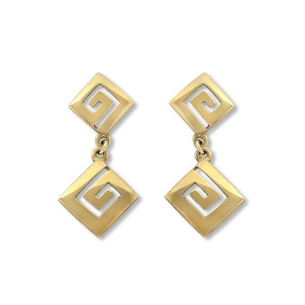 14K Gold, handmade, Greek key earrings.